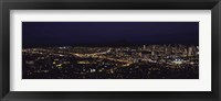 Framed Aerial view of a city lit up at night, Honolulu, Oahu, Honolulu County, Hawaii, USA 2010