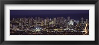 Framed High angle view of a city lit up at night, Honolulu, Oahu, Honolulu County, Hawaii