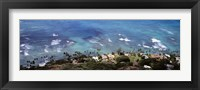 Framed Aerial view of the pacific ocean, Ocean Villas, Honolulu, Oahu, Hawaii, USA