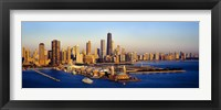 Framed Aerial view of a city, Navy Pier, Lake Michigan, Chicago, Cook County, Illinois, USA
