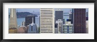 Framed Skyscrapers in the financial district with the bay bridge in the background, San Francisco, California, USA 2011