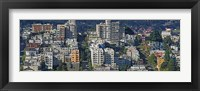 Framed Aerial view of buildings in a city, Russian Hill, Lombard Street and Crookedest Street, San Francisco, California, USA