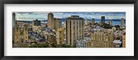 Framed Buildings in a city looking over Pacific Heights from Nob Hill, San Francisco, California, USA 2011