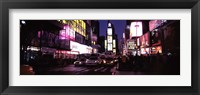 Framed Street scene at night, Times Square, Manhattan, New York City
