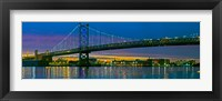Framed Suspension bridge across a river, Ben Franklin Bridge, River Delaware, Philadelphia, Pennsylvania, USA