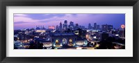 Framed Union Station at sunset with city skyline in background, Kansas City, Missouri