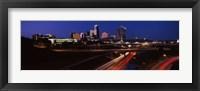 Framed Highway interchange and skyline at dusk, Kansas City, Missouri, USA