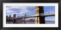 Framed John A. Roebling Bridge across the Ohio River, Cincinnati, Ohio