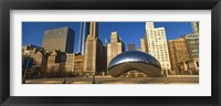 Framed Cloud Gate sculpture with buildings in the background, Millennium Park, Chicago, Cook County, Illinois, USA