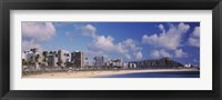 Framed Waikiki Beach with mountain in the background, Diamond Head, Honolulu, Oahu, Hawaii, USA