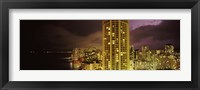 Framed Buildings lit up at night, Honolulu, Oahu, Hawaii, USA