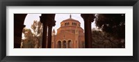 Framed Powell Library at an university campus, University of California, Los Angeles, California, USA