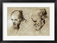 Framed Two Studies of the Head of an Old Man