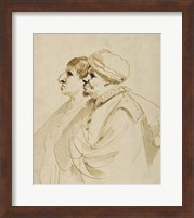 Framed Caricature of Two Men Seen in Profile