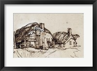 Framed Two Thatched Cottages with Figures at a Window