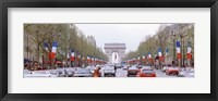 Framed Traffic on a road, Arc De Triomphe, Champs Elysees, Paris, France