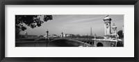 Framed Pont Alexandre III, Seine River, Paris, Ile-de-France, France (black and white)
