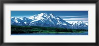Framed Snow covered mountain in Denali National Park AK