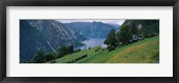 Framed High angle view of a river surrounded by mountains, Kjeasen, Eidfjord, Hordaland, Norway