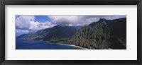 Framed Aerial view of the coast, Na Pali Coast, Kauai, Hawaii, USA