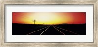 Framed Santa Fe Railroad Tracks, Daggett, California, USA