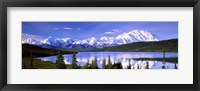 Framed Snow Covered Mountains, Mountain Range, Wonder Lake, Denali National Park, Alaska, USA