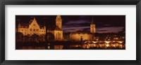 Framed Switzerland, Zurich, Limmat River at night