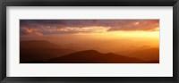 Framed Mountains, Sunset, Blue Ridge Parkway, Great Smoky Mountains, North Carolina, USA
