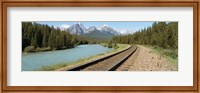 Framed Railroad Tracks Bow River Alberta Canada