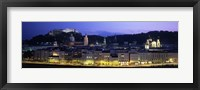 Framed Austria, Salzburg, Salzach River at dusk