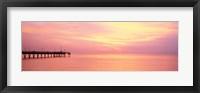Framed Sunset At Pier, Water, Caspersen Beach, Venice, Florida, USA