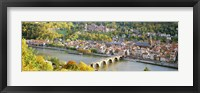 Framed Aerial view of Heidelberg Castle and city, Heidelberg, Baden-Wurttemberg, Germany