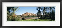 Framed Palm trees with a fortress in the background, Tiffoultoute, Ouarzazate, Marrakesh, Morocco