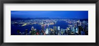 Framed Hong Kong with Bright Blue Night Sky, China
