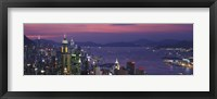 Framed Hong Kong with Pink and Purple Night Sky, China