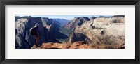 Framed Female hiker standing near a canyon, Zion National Park, Washington County, Utah, USA