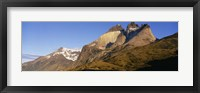 Framed Low angle view of a mountain range, Torres Del Paine National Park, Patagonia, Chile