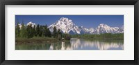 Framed Reflection of a mountain range in water, Oxbow Bend, Grand Teton National Park, Wyoming, USA