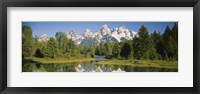 Framed Reflection of a snowcapped mountain in water, Near Schwabachers Landing, Grand Teton National Park, Wyoming, USA