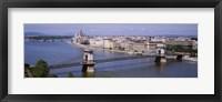 Framed Aerial View, Bridge, Cityscape, Danube River, Budapest, Hungary