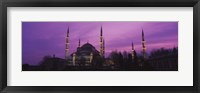 Framed Blue Mosque with Purple Sky, Istanbul, Turkey