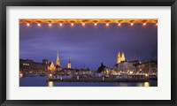 Framed Switzerland, Zurich, Cityscape of Zurich at Christmas