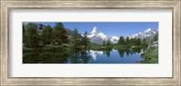 Framed Reflection of a mountain in a lake, Matterhorn, Riffelsee Lake, Pennine Alps, Zermatt, Valley, Switzerland