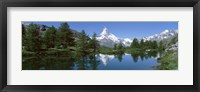 Framed Reflection of a mountain in a lake, Matterhorn, Riffelsee Lake, Pennine Alps, Zermatt, Valley, Switzerland