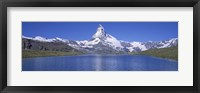 Framed Panoramic View Of A Snow Covered Mountain By A Lake, Matterhorn, Zermatt, Switzerland