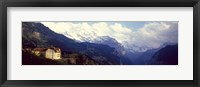 Framed Hotel with mountain range in the background, Swiss Alps, Switzerland