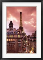Framed Paris Street Scene with Eiffel Tower and Red Sky