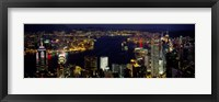Framed Buildings Illuminated At Night, Hong Kong