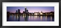 Framed Skyline In Evening, Main River, Frankfurt, Germany