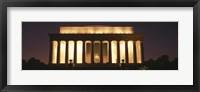 Framed Lincoln Memoria Lit Up at Night